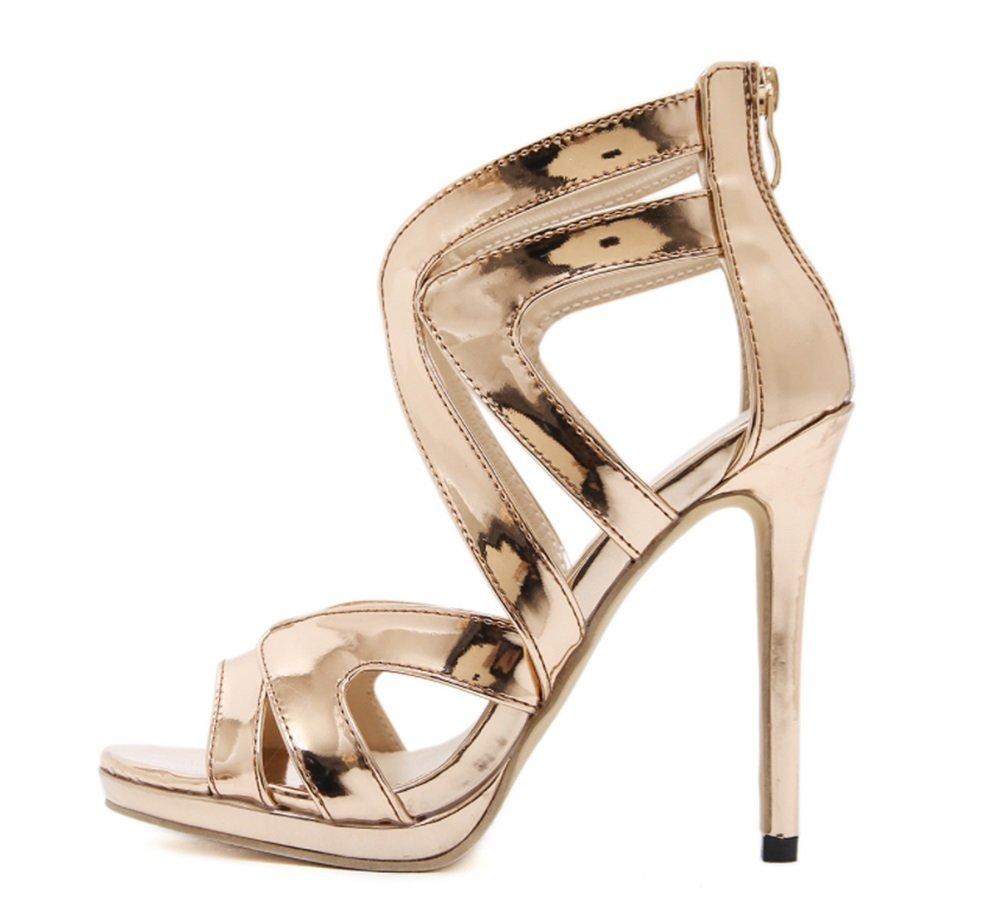 TMKOO 2018 Neue Art und Weise High High High Heels Damen Sexy Sandalen Bankett Schuhe 12cm Ultra High Heels glänzend Hohlen Sandalen (Größe : Us6/eu36/uk4/cn36) - dd35e7