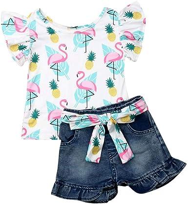 Toddler Kids Girls Flamingo Tops Ruffle Shorts Pants Summer Outfits Set Clothes