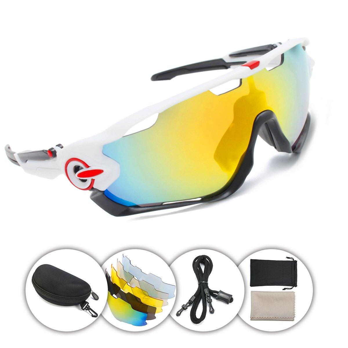OUTERDO deportes polarizada gafas de sol Ciclismo UV Protección para los ojos resistente al viento gafas con 5 lentes para grabación de deportes al ...
