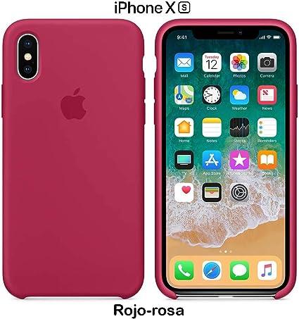 Image of Funda Silicona para iPhone X y XS Silicone Case Calidad, Textura Suave, Forro Interno Microfibra (Rojo-Rosa)