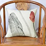 HOMEE New Chinese Lotus Pillow Cushion Kit Thick Cotton Cloth Sofas Pillow Automotive Lumbar Support Backrest ,45X45Cm,Fhh-006 Dark Brown Wooden Chairs,Fhh-005,45x45cm