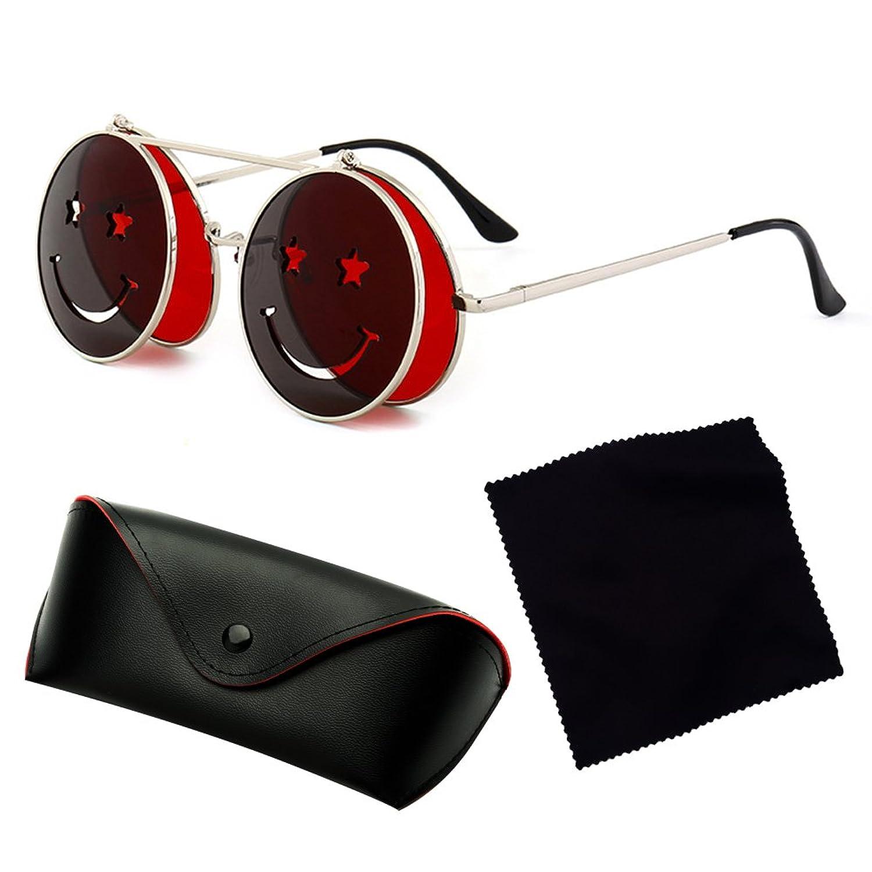 hibote M¨¦tal Vintage Lunettes de soleil Cercle Hommes Flip Up Steampunk Round Glasses Femmes Lunettes C3 eCCfIR1L