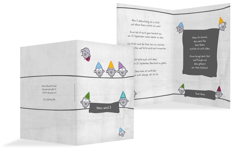 Einladung zum Geburtstag Vogelfest, 10 Karten, HellgrauLila B07L1BJ137   Günstigstes    Vielfalt    Wunderbar