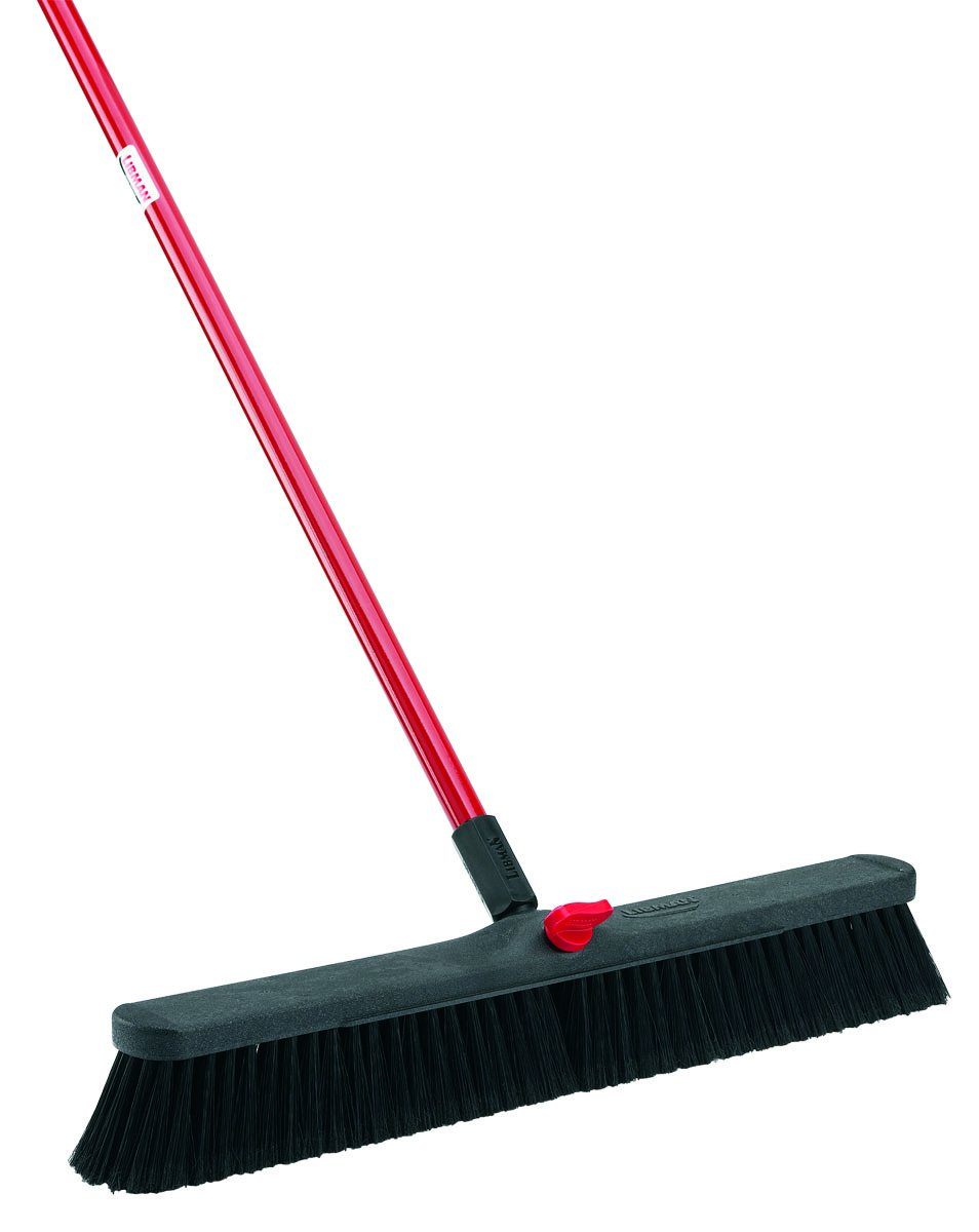 Libman Commercial 801 Smooth Surface Push Broom, 64'' Length, 24'' Width, Black/Red (Pack of 4)