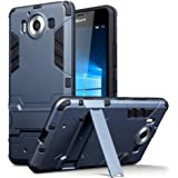 Lumia 950 Case - Terrapin Microsoft Lumia 950 Cover - Full Body Shock Resistant Armour Case - High-Tech Look - Dual Layer - Kickstand - Dark Blue
