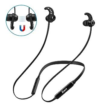 Auriculares Bluetooth Deporte,EJIKER Auricular Magnético Deportivos Inalámbricos 4.1 Neckband con Micrófono Larga Duracion 8 Horas de Juego Cancelación de ...