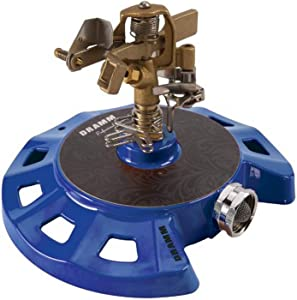 Dramm 15086 Circular Base Impulse Sprinkler with a Heavy-Duty Metal Base, Blue