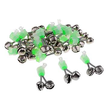 Gr/ün B Blesiya 20 St/ück Angeln LED Aalglocken-Set Aal-Gl/öckchen doppelt Bissanzeiger zum Angeln