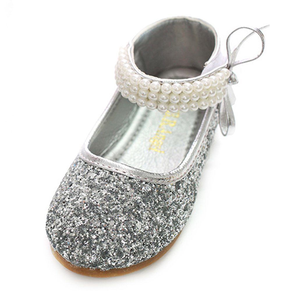 YING LAN Girl Round-Toe Sparkle Bowknot Ballet Ballerina Flat Wedding Shoes Mary Janes Silver