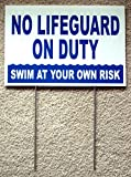 1 Pc Premium Popular No Lifeguard Duty Signs Outdoor Board Swim Declare Warning Beach Size 8'' x 12'' with Stake