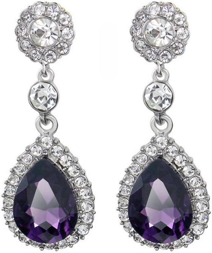 Cosanter 1 Par Pendientes de Gota de Cristal Pendientes de Piedras Preciosas Pendientes Mujer Joyería de Moda(Morado)