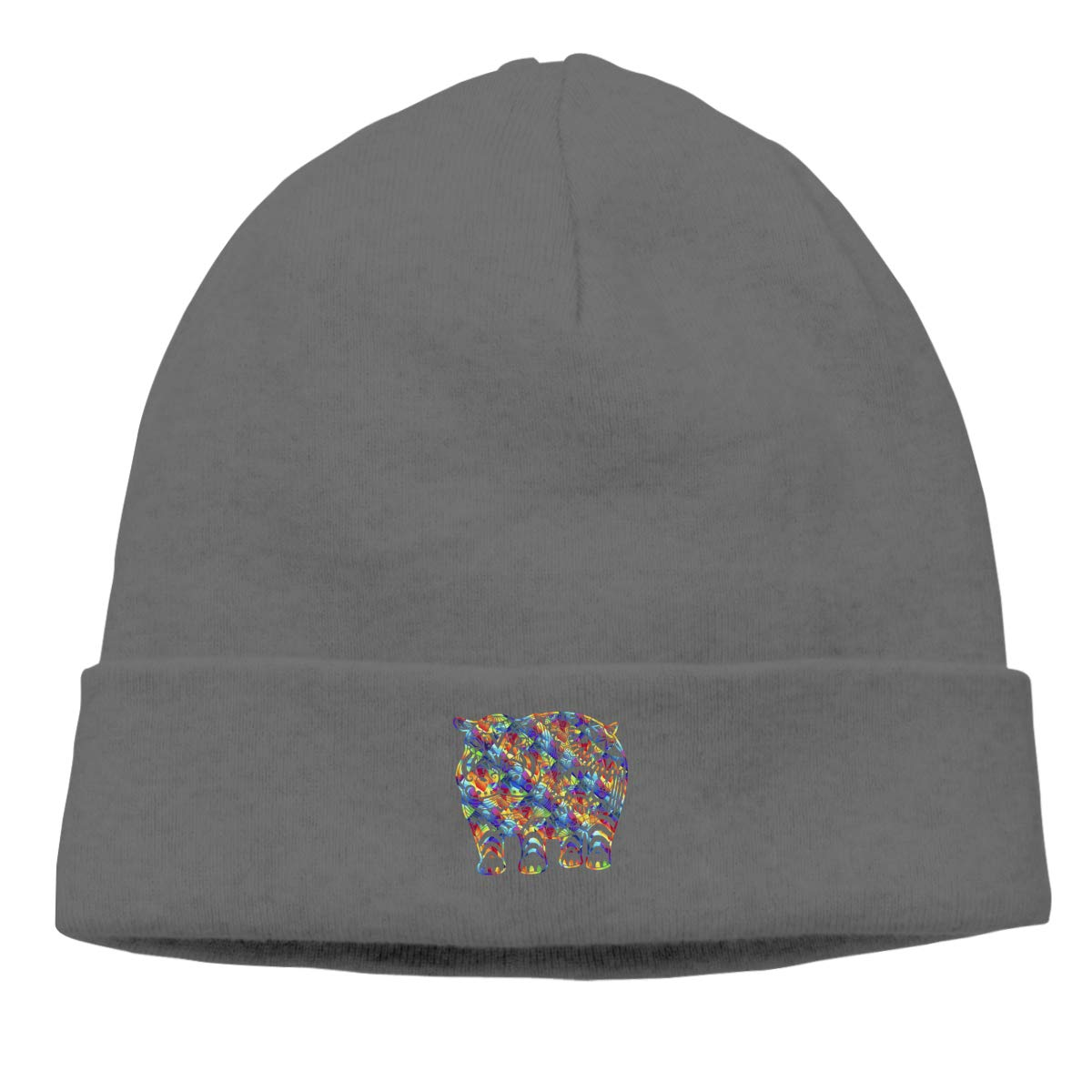 Riokk az Colorful Hippo Skull Hat Beanie Cap for Mens Deep Heather