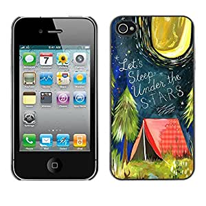 X-ray Impreso colorido protector duro espalda Funda piel de Shell para Apple iPhone 4 / iPhone 4S / 4S - Tent Quote Forest Night Moon