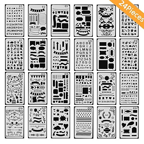 ONEST 24 Pack Journal Stencil Plastic Planner Stencils Journal Notebook Diary Scrapbook DIY Drawing Template Stencil 4x7 Inch