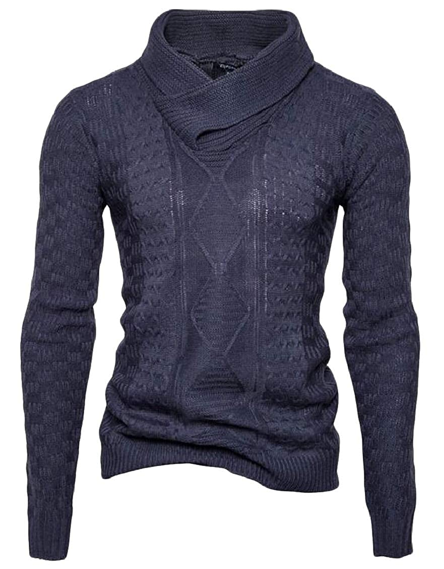 XQS Mens Long Sleeve Autumn Slim Cowl Neck Thermal Knitted Sweaters