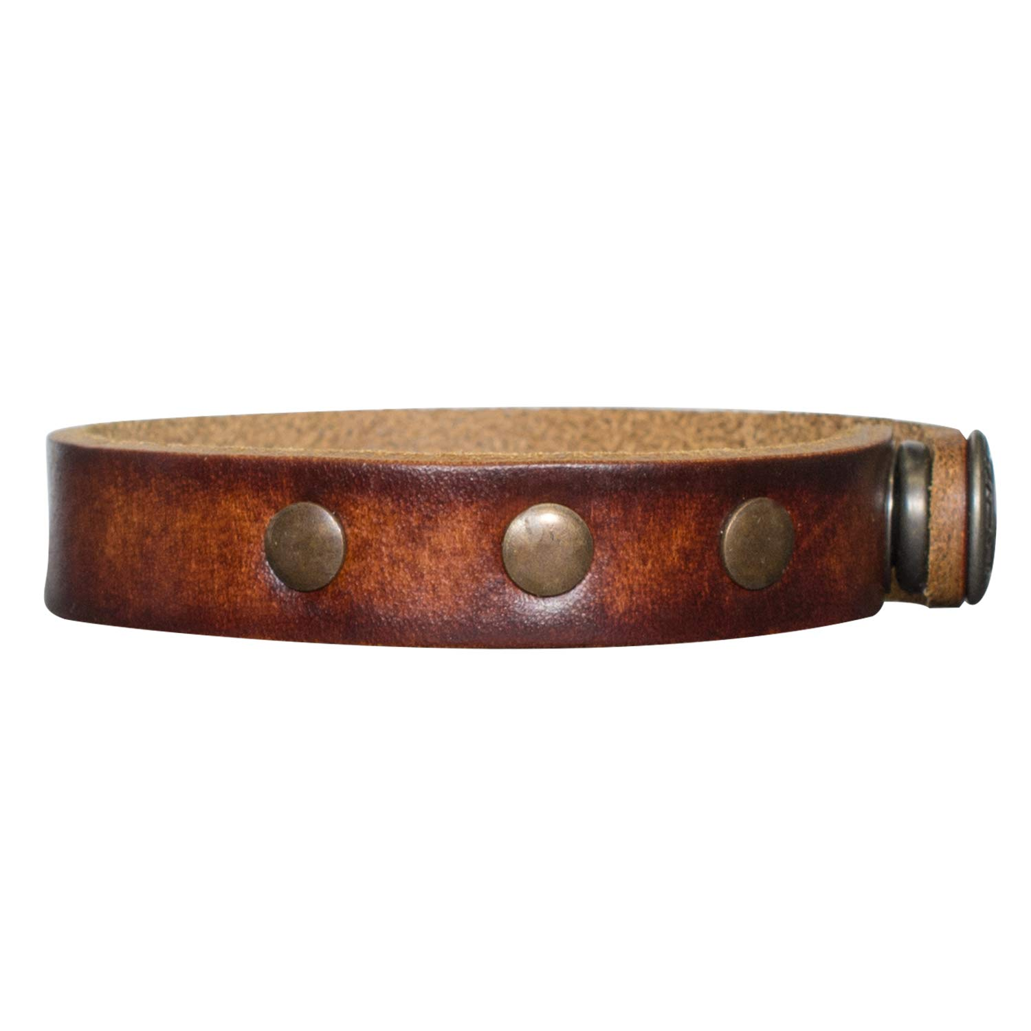 Personalized Genuine Leather Bracelet Free Engraving Brown Studded
