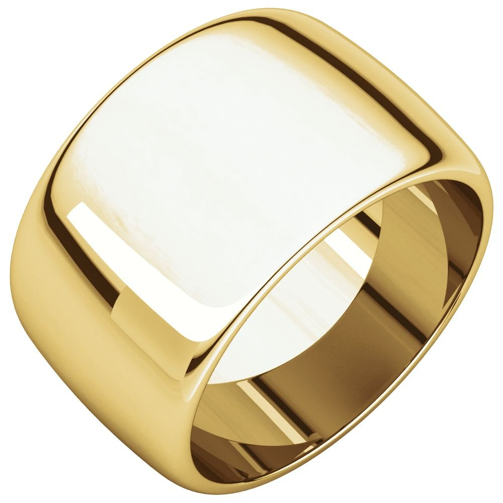 Jewels By Lux 14K Yellow Gold 12mm Half Round Wedding Ring Band Size 9