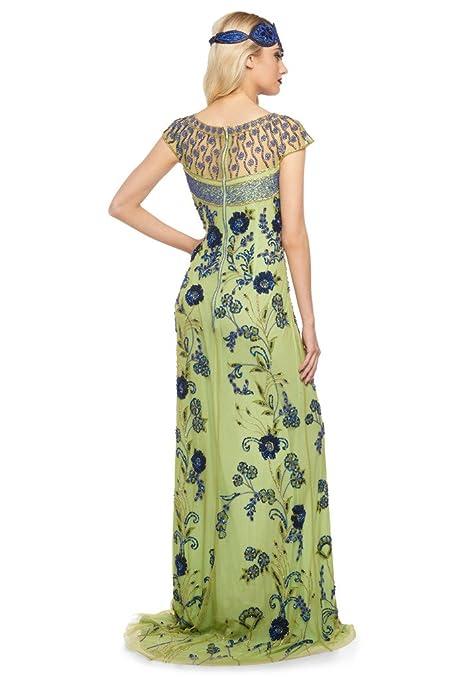 Vintage Evening Dresses and Formal Evening Gowns gatsbylady london Elizabeth Vintage Inspired Maxi Dress In Lime $232.70 AT vintagedancer.com