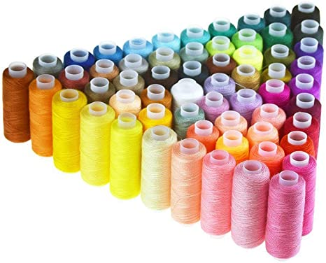 Candora Sewing Thread Assortment Coil 60 Color 250 Yards Each Polyester Thread Sewing Kit All Purpose Polyester Thread for Hand and Machine Sewing