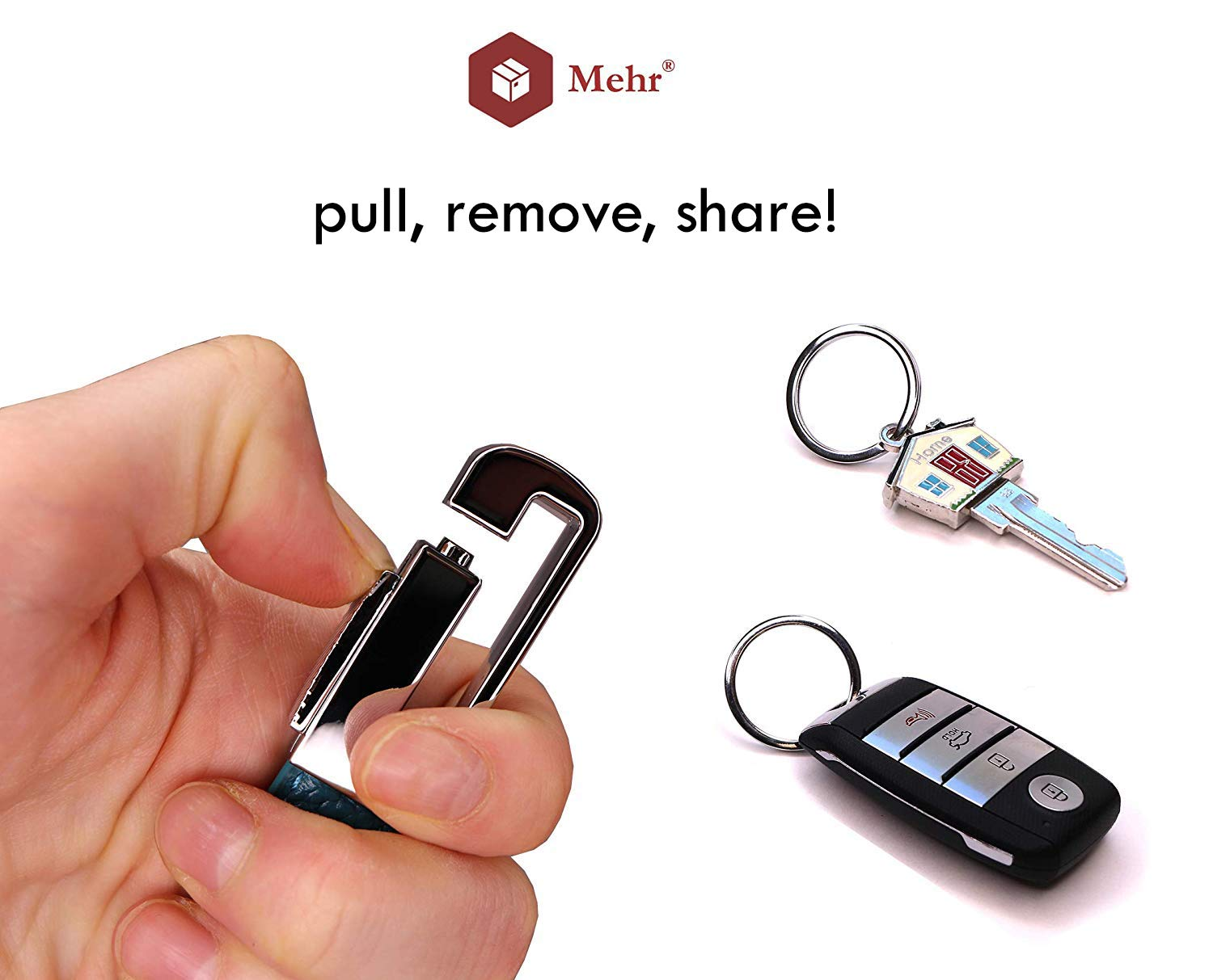 Mehr Keychains Leather Detachable Valet Key Chains Car Key Rings KC8