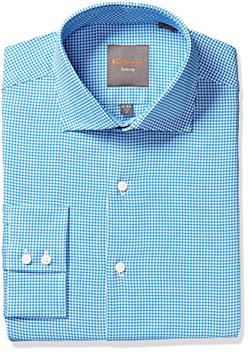 Ben Sherman Men's King Slim Fit Dobby Dress Shirt, Teal, 16'' Neck 34/35'' Sleeve by Ben Sherman