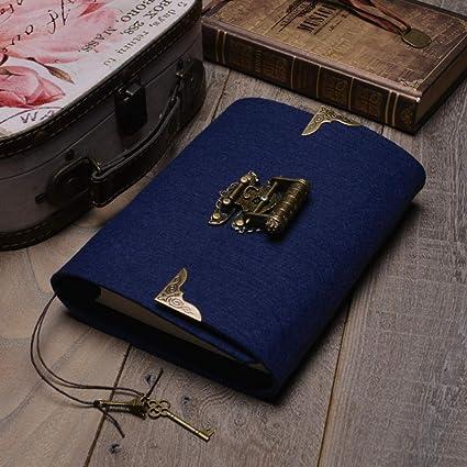 Agenda con contraseña y bloc de notas, diseño de hojas sueltas, color blu scuro: Amazon.es: Oficina y papelería