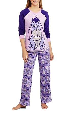Amazon.com  Disney Womens Winnie the Pooh Eeyore Fleece Pajama Set ... dd1a27de2