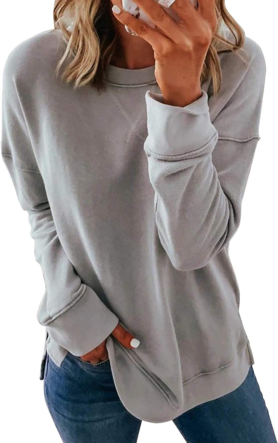 Womens Sweatshirts Pullover Long Sleeve Crewneck Shirts Loose Fit Casual Blouse Tops