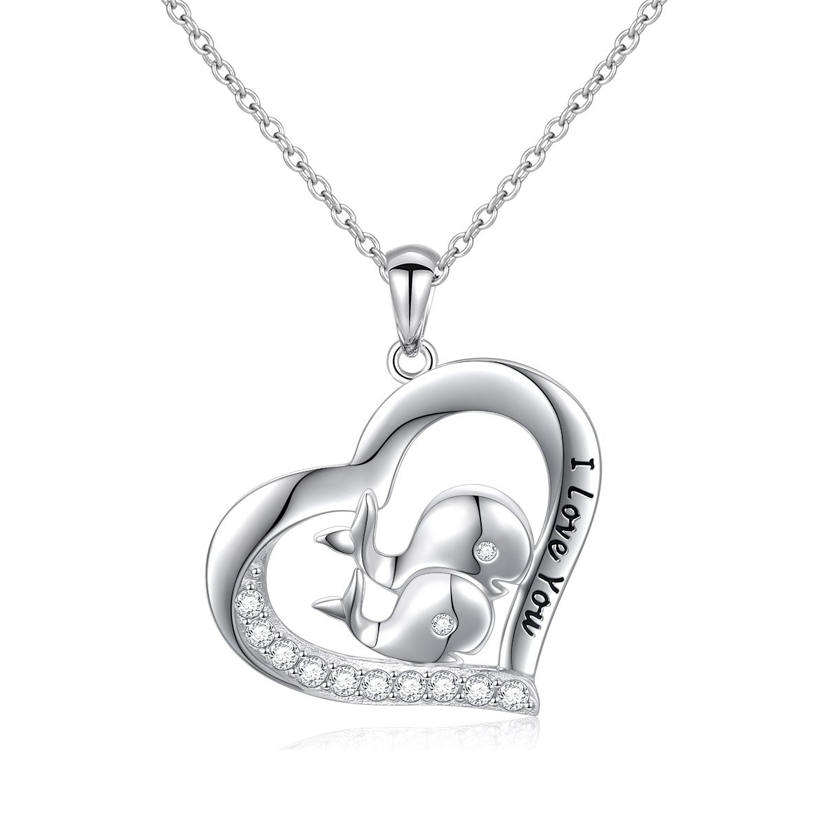 DAOCHONG S925 Sterling Silver I Love You Mother And Child Whale Pendant Necklace 18'' by DAOCHONG (Image #1)