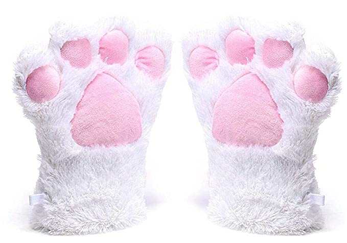 A&S Creavention Women Cat Bear Claw Paw Mitten Plush Glove Costume