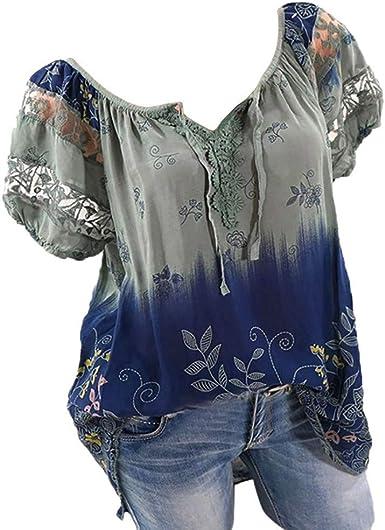 Buedvo Women Fashion Plus Size Print Round Neck Long Sleeved T-Shirt Blouse Tops