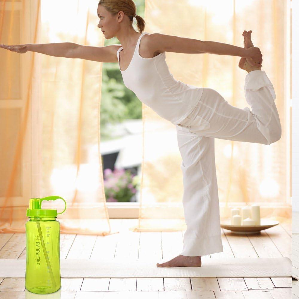 le sport et les activit/és en plein air Gourde avec /échelons paille et sangle Large goulot Id/éal pour les voyages Sans BPA /étanche Grande contenance de 2/litres Xmssit