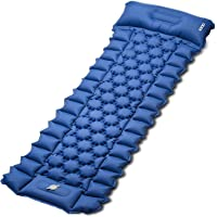 Sleeping Pad for Camping, iDOO Inflatable Camping Mattress with Foot Press and Pillow, Compact Lightweight Sleeping Mat…