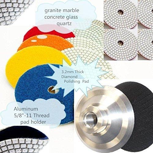 5'' Granite Diamond Polishing Pad Wet/Dry 22 Piece + 2 Aluminum Backer Best Value Concrete Marble Travertine Terrazzo Engineer Stone countertop floor renew masonry sanding grinding repair