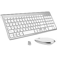 FENIFOX Tastiera Wireless Layout Italiano e Mouse, Mouse Tastiera Wireless, Kit Keyboard Mouse Wireless 2.4G, Pulsante Silenzioso, Compatibili Mac/Windows/Tablet-Argento
