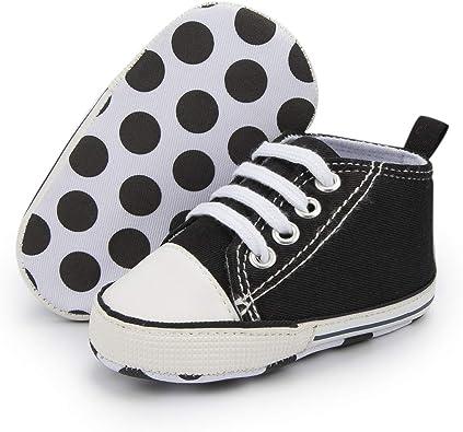 Newborn Baby Boy Girl Pram Shoes Infant White Black Sneakers Pre Walker Booties