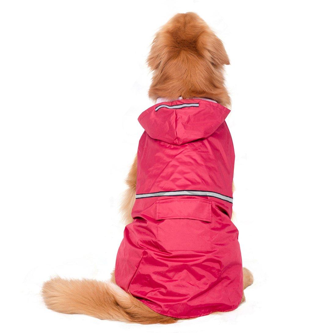 BONAWEN Reflective Dog Rain Coat with Pouch/Leash Hole for XL,L,M Pets(Red,L)