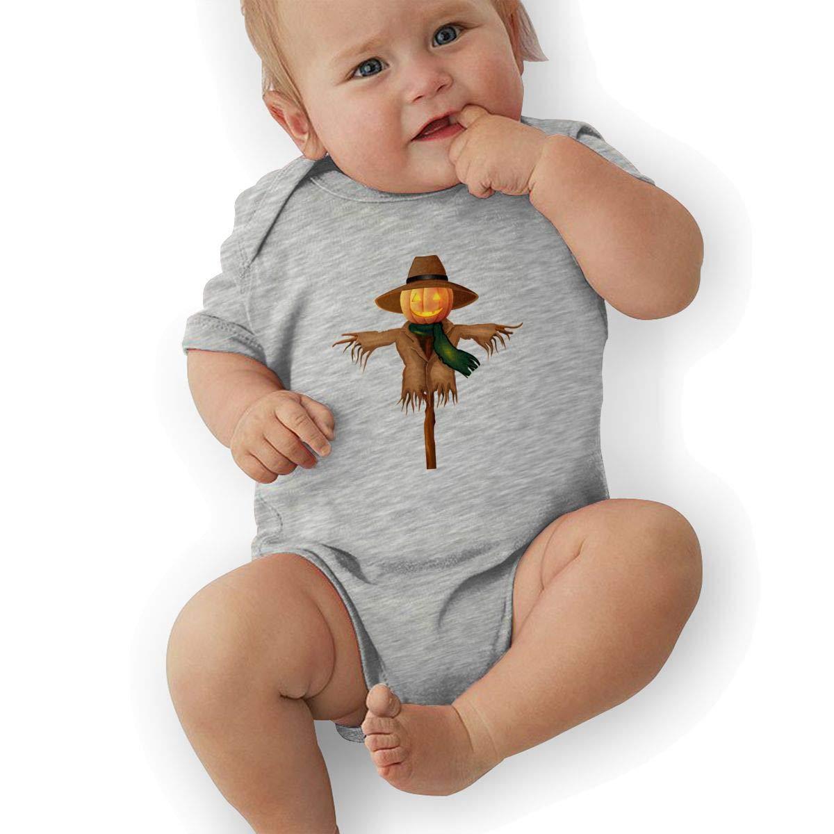 Toddler Baby Boys Bodysuit Short-Sleeve Onesie Scarecrow Pumkin Print Outfit Autumn Pajamas
