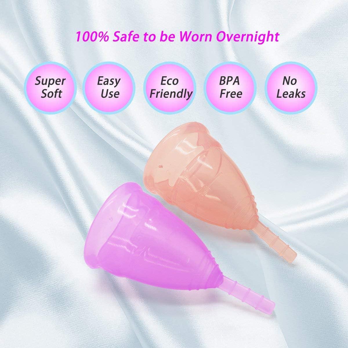 Exqline - Copa menstrual rosa y lila fabricada en silicona ...