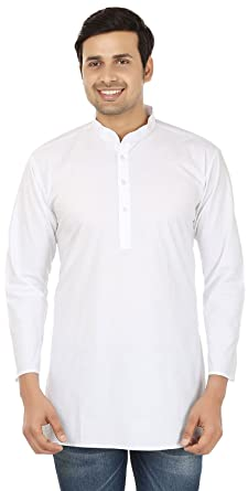 Amazon.com: Indian Clothing Fashion Shirt Mens Short Kurta Cotton ...