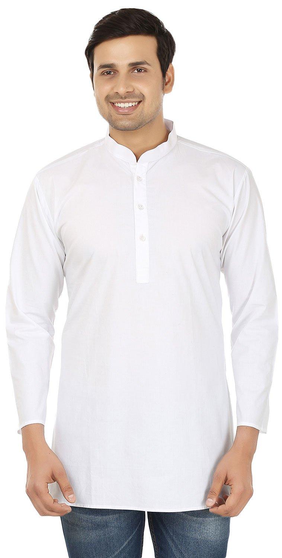 Indian Clothing Fashion Shirt Mens Short Kurta Dress Cotton (White,M)