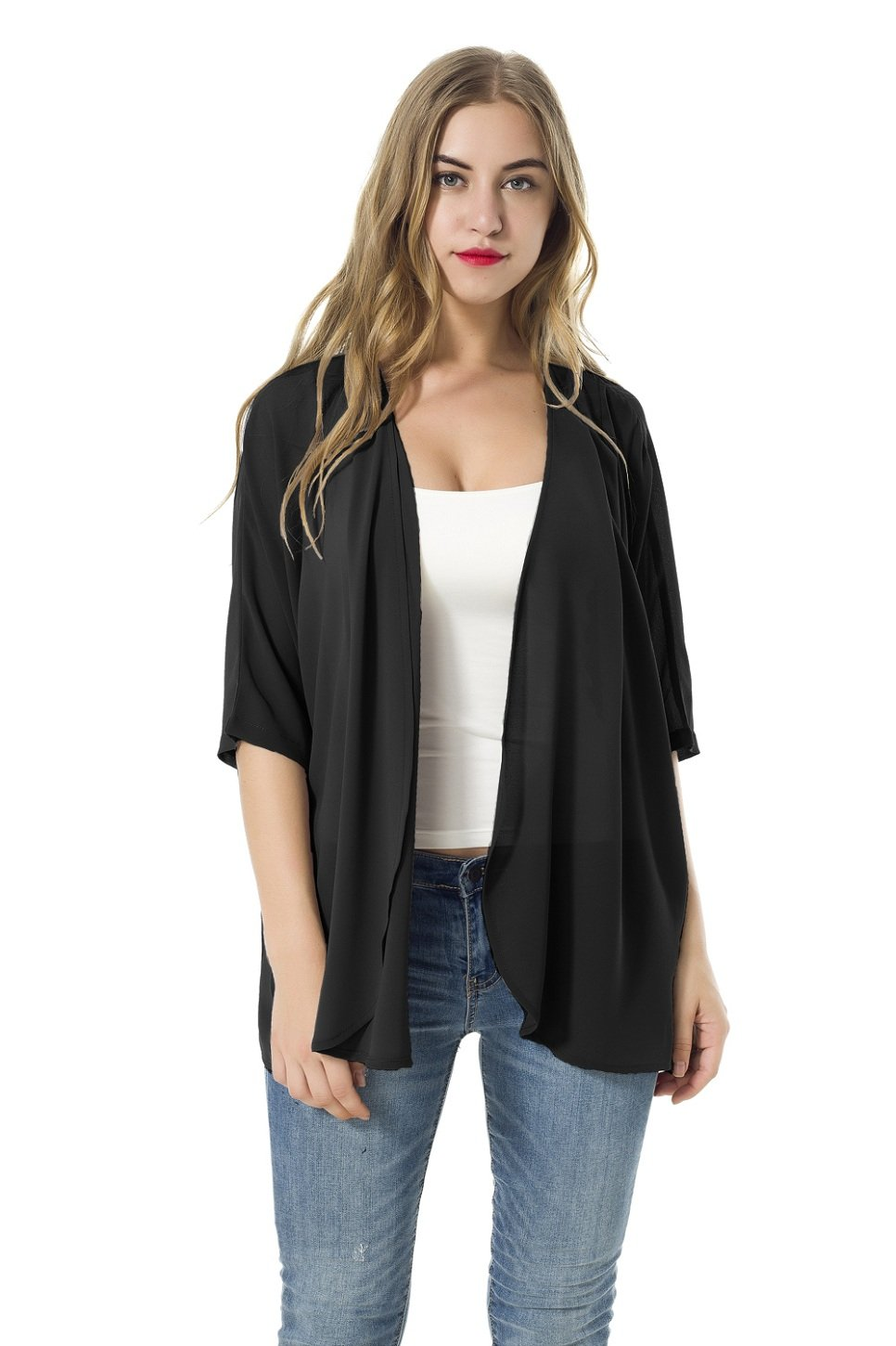 XINAO Women's Open Front Casual Solid Comfy Light Short Sleeve Chiffon Cardigan (Black, L)