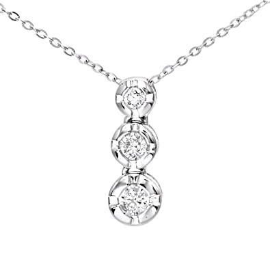 Naava womens 015 ct graduated diamond trilogy pendant and 9 ct naava womens 015 ct graduated diamond trilogy pendant and 9 ct white gold chain necklace of aloadofball Choice Image
