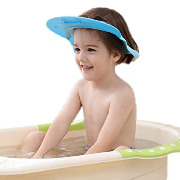 Yellow Baby Soft Bath Bathing Cap Kids Elastic Shampooing Cutting Hat Adjustable Waterproof Wash Hair Protect Hat for Toddler Children