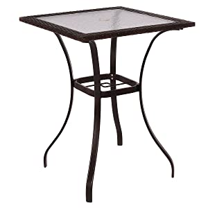 AlphaBaby Coffee Outdoor Patio Rattan Wicker Bar Square Table Glass Top Yard Garden Furniture, Brown