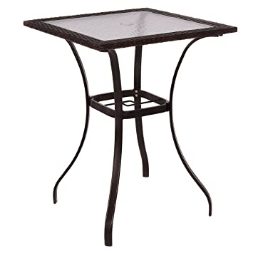 Outdoor Patio Rattan Wicker Bar Square Table Glass Top Yard Garden Furniture. Amazon com  Outdoor Patio Rattan Wicker Bar Square Table Glass Top