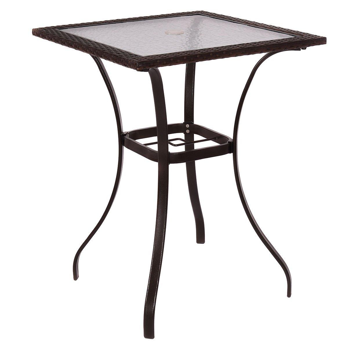 Asher Amada Outdoor Patio Rattan Wicker Bar Square Table Glass Top Yard Garden Furniture
