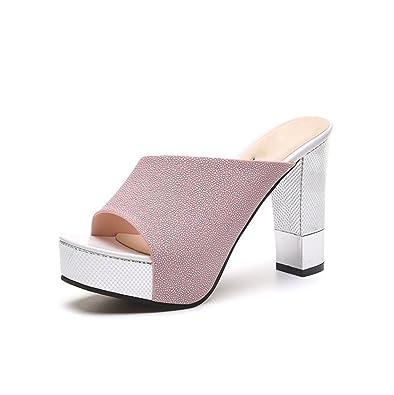 weiwei Damen Sommer Coole Hausschuhe High-Heel,Grobe Mode Sandalen-C Fußlänge=23.8CM(9.4Inch)