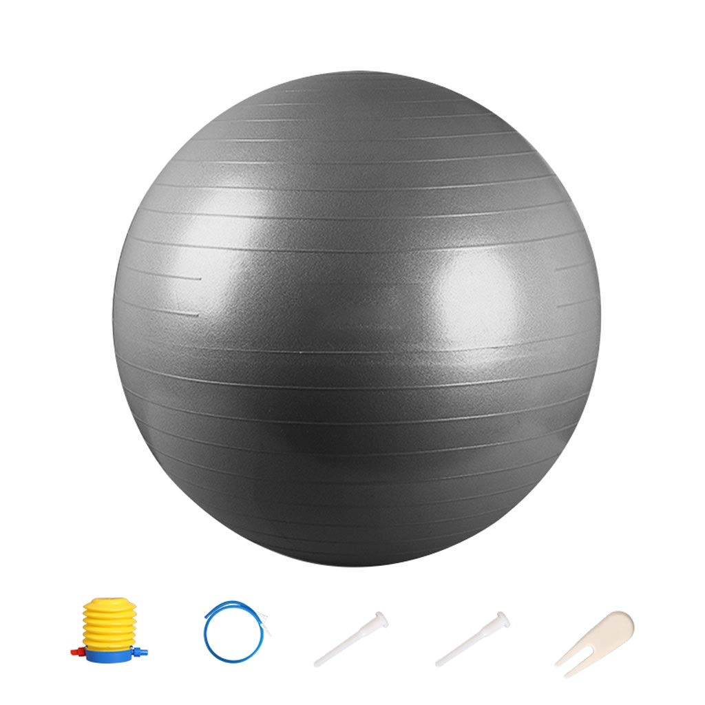 Exercise Ball,Anti-Slip & Anti-Burst for Safety. Ideal for Yoga, Pilates Or Birthing Therapy Gym Ball Core Training and Physical Therapy, Improves Balance (Color : Gray, Size : 55cm)
