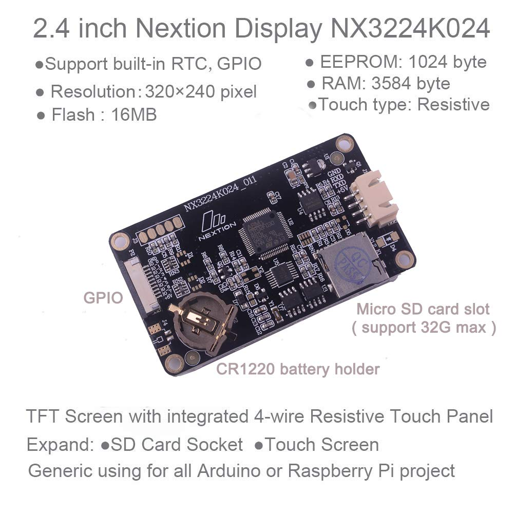 Nextion Enhanced 2 4 inch Screen UART HMI LCD Module Touch Display  NX3224K024 for Arduino Raspberry Pi WIshioT